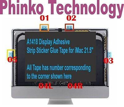 "1x set 21.5"" Apple iMac A1418 LCD Screen Adhesive  Stickers Tape From 2012-2015"