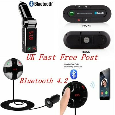 FM Transmitter Bluetooth 4.1 Handsfree Car Kit MP3 Player & USB Charger Magnetic