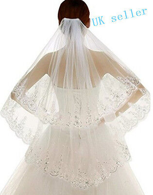 New 2 Layer Lace white/Ivory Elbow Length Sequin Wedding Bridal Veil With Comb