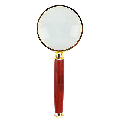20X Gold Tone Metal Frame Rosewood Handle Grip Magnifying Lens Glass 50mm C4F3