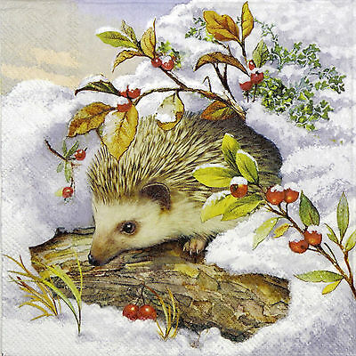 4x Single Paper Napkins -Hedgehog in Snow- for Party, Decoupage