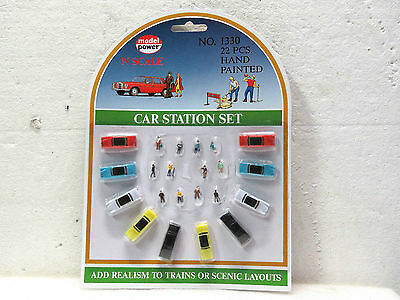 MODEL POWER; N scale CAR STATION SET; 22 pieces; #1330; New on card