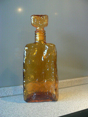 70er Jahre Amber Empoli glass genie bottle/decanter vintage Glas Flasche Italien