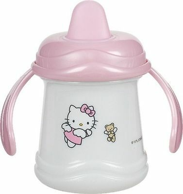 Hello Kitty Cup Drinking Bottle Baby Sippy Drink Cups Handle 250ml