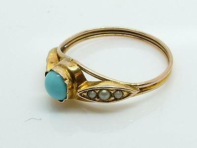 Antique Edwardian Delicate Turquoise and Faux Pearl 9ct Gold Ring UK 'M' US '6'