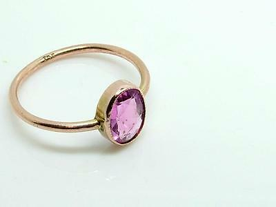 Antique Estate Edwardian Pink Stone and 9ct Rose Gold Ring Large Size