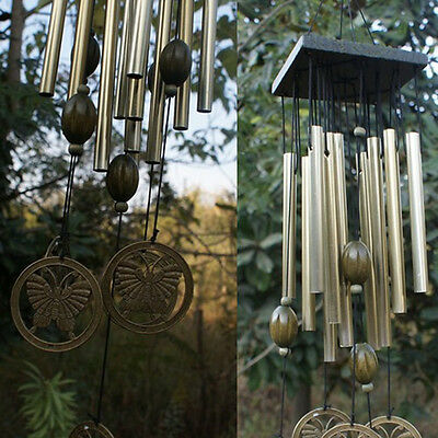 Wind Chimes Bells Copper Wood 12xTubes Yard Garden Home Wall Decor Ornament Gift