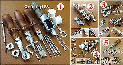5kinds Leather Craft Sew 4in1 Lock Thread Awl Creasing Groover Over Stitch Wheel