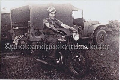 VINTAGE MOTORCYCLE, Madras, India, Military - 1946 - 6 x 4 photo