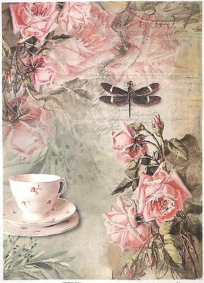 Rice Paper for Decoupage Decopatch Scrapbook Craft Sheet Vintage Fruit Tea Time