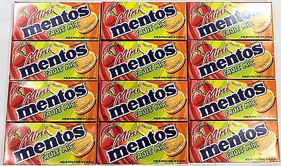 908598 12 x 80g BOXES OF MINI MENTOS, FRUIT MIX FLAVORED CHEWY MINT CANDIES! HOL