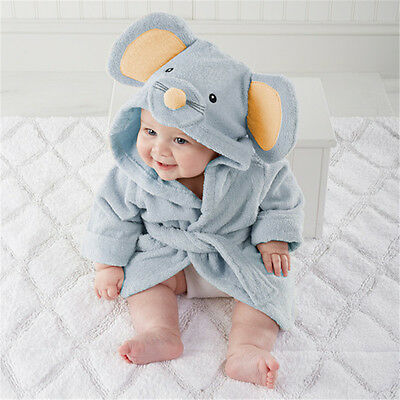 Cute mice Baby boby Dressing Gown Splash Wrap Bath Hooded Towel Robe 0-12M