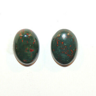 Bloodstone 10x14mm Cabochon with 4.5mm dome from India set of 2 (12462)