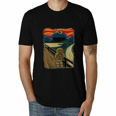 The Scream Printed Funny T-shirts Men's Cotton Short Sleeve Casual White Tops