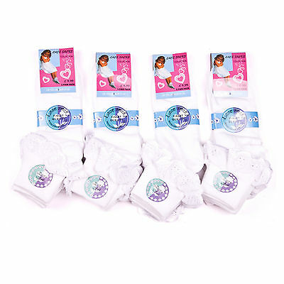 6 Pairs Girls Children's Kids School Socks White Black Lace Frilly Ankle Cotton