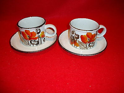 """Midwinter Stonehenge  """"Autumn """" Poppies Cup And Saucer x2  Excellent Condition"""