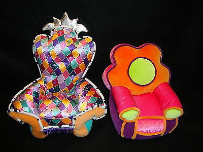 Manhattan Toy Co. GROOVY GIRLS PLUSH ARM CHAIRS Lot x 2 Colorful Doll Furniture