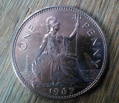 British One Pence (Penny) Coin 1967 Queen Elizabeth II
