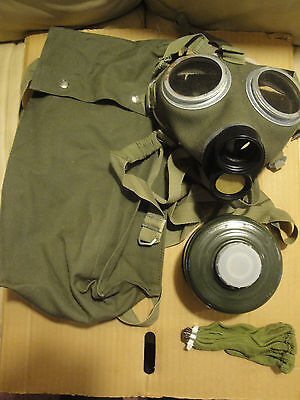 Hungarian M67 Canvas Gas mask NEW unissued - Military Cold War bag COMPLETE