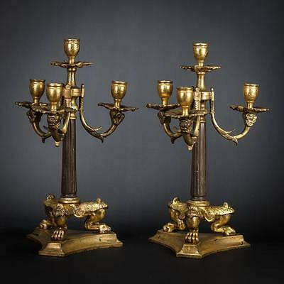 """13"""" Pair of French Antique Gilded Bronze 4 Tier Arms Candelabras Candle Holders_"""