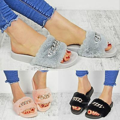 Ladies Womens Diamante Chain Slider Slip On Rubber Mule Sandals Slippers Shoes
