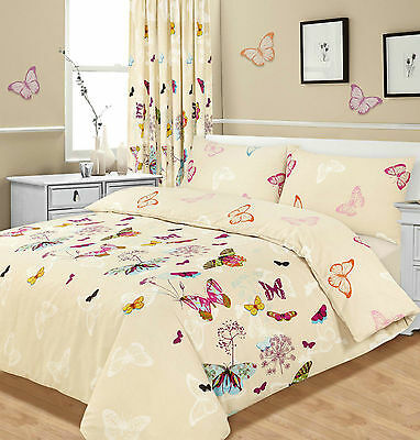 Butterfly Glaze Beige Multi Colour / Duvet Quilt Cover Bedding Set