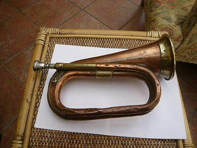 Vintage Used Heavy Copper & Brass Bugle Military Style Made In England Premier