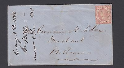 VICTORIA RARE 1858 4d Red Qv EMBLEM ON LETTER GEELONG TO MELBOURNE (L19)