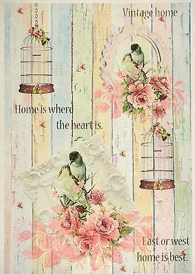Rice Paper for Decoupage Decopatch Scrapbook Craft Sheet Shabby Birdcages