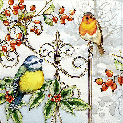 4x Paper Napkins for Decoupage Birds and Holly