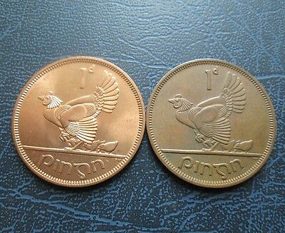 2 X 1968 Ireland Large One Penny - 1 x Unc, 1 x Chickless Variety