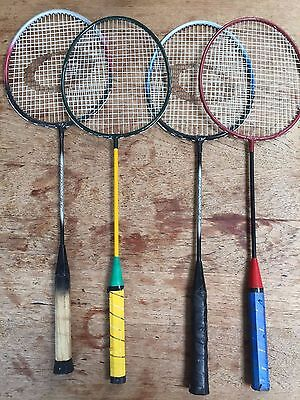 4 x adult badmington 2 x child rackets. Used