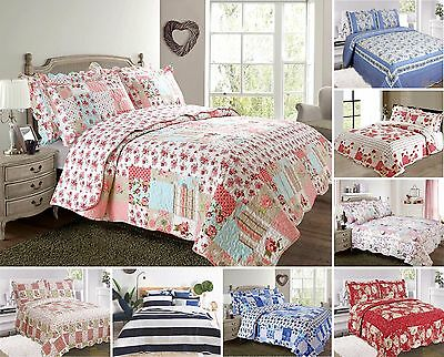 Quilted Bedspread Comforter Shams Single Double King Patchwork Pink Red Floral