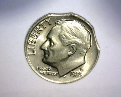 1983 P ROOSEVELT DIME,  DOUBLE CURVED CLIP >HIGH GRADE B/U-ty< US  Error Coin