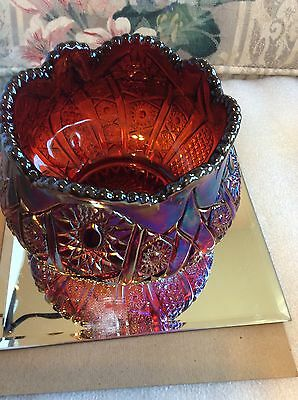 "Indiana Red Carnival Glass Heirloom Sunset 4.5""T x 5.5""W Bowl"