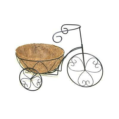 Patio Life Round Heart Coco Liner Tricycle Planter Stand Gardening Pot Storage