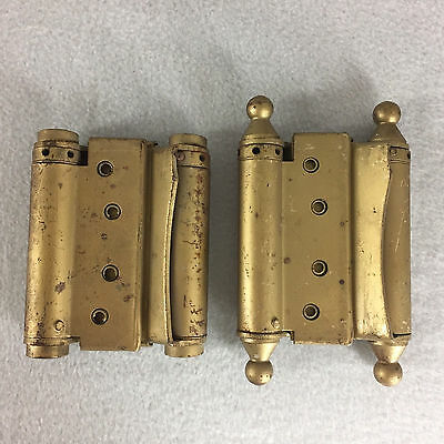 Vintage Pair Double Action Spring Load Door Hinges 4 Inch