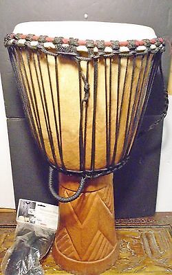 "African Djembe Hand Carved From 1`Piece Of Teak 25"" Tall x 11.5"" Goat Head"