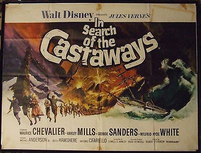 IN SEARCH OF THE CASTAWAYS, Hayley Mills, ORIGINAL VINTAGE QUAD CINEMA POSTER