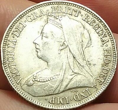 1898 Great Britain Shilling silver UK coin gVF#ch549