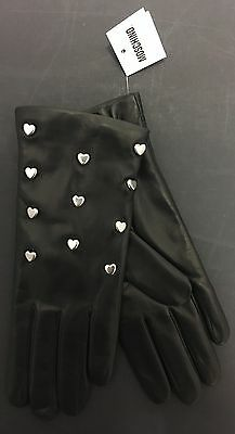 NWT Moschino Black Leather Gloves Cashmere Lined Silver Color Hearts SZ 6.5