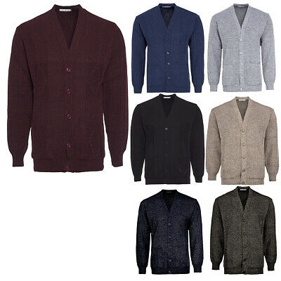 Mens Knitted Cardigan Classic Style Cardigans V Neck Button Jumper Plain Colours