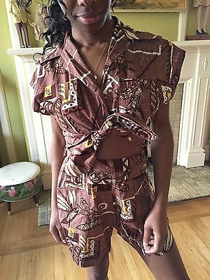 Vintage 1950s Pineapple Novelty Print Shaheen Playsuit Shorts Shirt Hawaiian Set