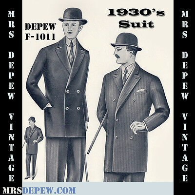 Vintage Sewing Pattern 1930's Mens' Suit Coat and Trousers Any Size Depew #F1011