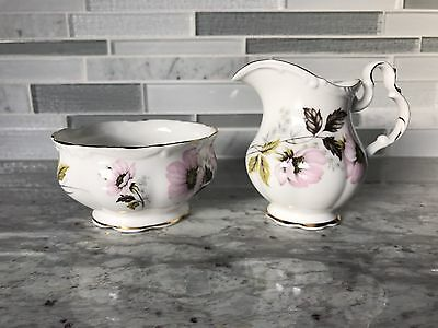 Royal Albert Creamer and Sugar Bowl Pink Flowers Gold Trim Set of 2
