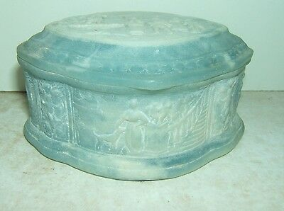 Antique Trinket Box Victorian Vanity Dresser Light Blue Alabaster