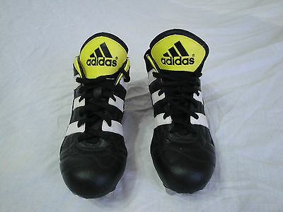 Rare Mens 1999 Vintage ADIDAS Black/Yellow leather RUGBY Boots Size 8 EU 42
