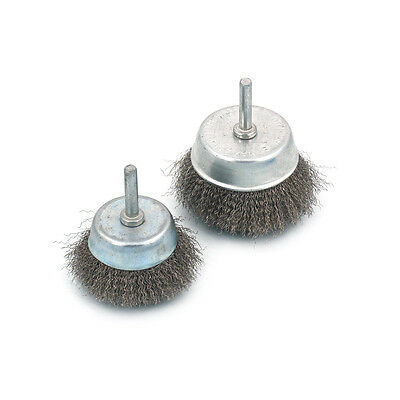 2Pcs 50mm/75mm Stainless Steel Wire Cup Brush For Rotary Tool 6mm Shank New