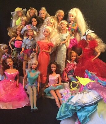 BARBIE DOLL LOT OF 18 ROCKER/ 80's DOLLS WITH EXTRA CLOTHES