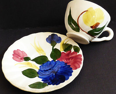 VTG Blue Ridge Southern Potteries Flower lot of 2 tea cup & saucer set